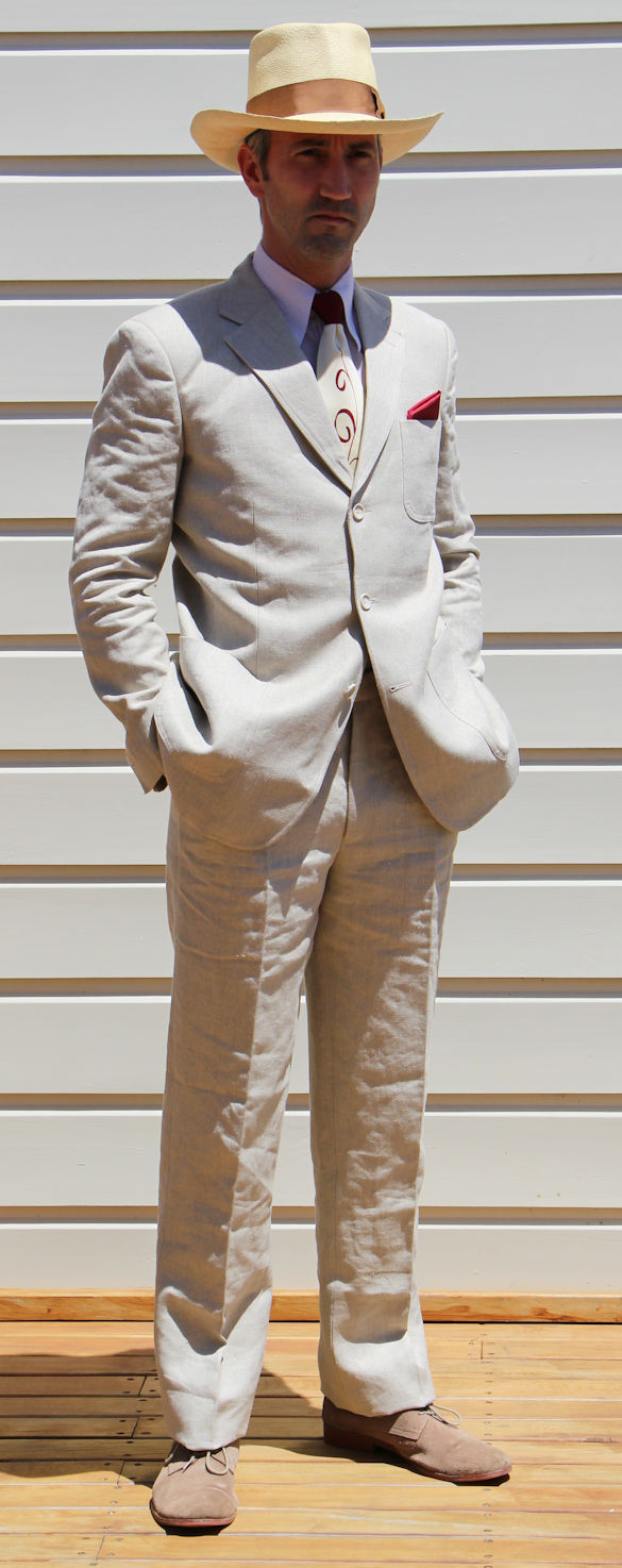 Men's Vintage Style Suits, Classic Suits Hemp Linen Suit AUD 535.00 AT vintagedancer.com